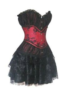 Palace Burlesque Showgirl Black Red Satin Lace Corset Dress Moulin Rouge Skirt
