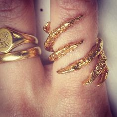 Gold Plated Interlocked Bird Claw Ring  DIFFUSION by TessaMetcalfe, $110.00