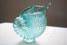 Murano Art Glass SHELL VASE - Raised Lines of Striped Glass Surround Vase - NICE