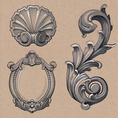 Selection of ornamental illustrations from the book., Selection of ornamental illustrations from the book. Selection of ornamental illustrations from the book. Filigrana Tattoo, Filagree Tattoo, Ornate Tattoo, Baroque Frame, Mirror Tattoos, Molduras Vintage, Motif Arabesque, Framed Tattoo, Tattoo Frame