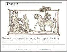 medieval vassal doing homage to his lord and king free printable coloring page with handwriting