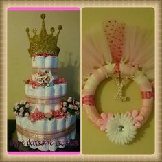 Princess  theme baby shower diaper cake & wreath. Remember to order today at unique decorative creations. https://m.facebook.com/decorativecreations/ or email at uniquedecorativecreations@gmail.com