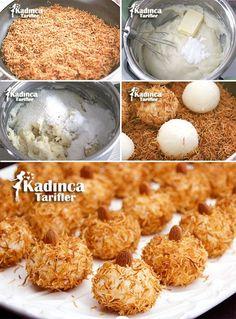 Kadayıflı Muhallebi Topları Tarifi Ramadan Desserts, Ramadan Recipes, Köstliche Desserts, Chocolate Desserts, Delicious Desserts, Dessert Recipes, Yummy Food, Pudding Desserts, Custard Desserts