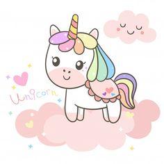 Ilustrador de dibujos animados de unicornio. Vector Premium