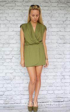 Sukienka, tunika z pagonami i gumkąw talii. AchVeverka.pl #sukienka #tunika #khaki #kopertowa #dress #pagony