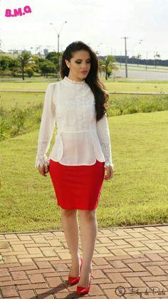 Look do Dia: Saia Lápis e Blusa de Renda   Blog da Paola