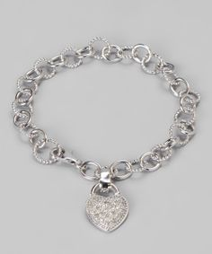 White Diamond & Sterling Silver Heart Bracelet | Daily deals for moms, babies and kids