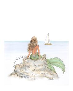 Mermaid Rock  (vertical print) by JordanWerre on Etsy https://www.etsy.com/listing/281201458/mermaid-rock-vertical-print