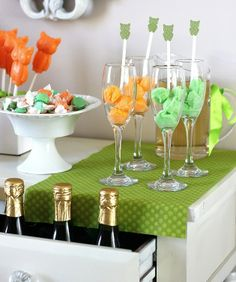 mini sherbet scoops topped with ginger ale or Champagne = updated shower punch