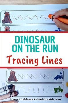 12 patterns to trace in this fun dinosaur fine motor activity. Kids will practice writing skills and pencil grip by helping the dinosaurs escape from the volcano. Dinosaurs are fun any time of the year!  #freeprintableworksheetsforkids #dinosaur #animal #paleontology #tracing #prewriting #pencil #writing #letter #literacy #alphabet #finemotor Pencil Writing, Pre Writing, Writing Practice, Writing Skills, Free Printable Worksheets, Writing Worksheets, Worksheets For Kids, Writing Activities For Preschoolers, Dinosaur Activities