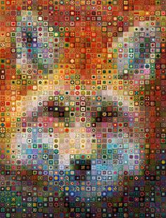 granny square #crochet fox digital art workbyknight