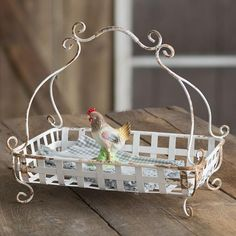 Farmhouse Home Decor, Furniture, Gifts White Metal Footed Basket - Woven Metal Footed Basket with Handle Made of metal with a white finish Accessories are not included length x width x height