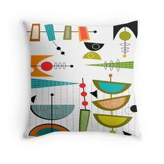 Mid-century Modern Abstract #55 Throw Pillows