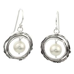 Silver Earrings with Pearl - Pearls and Silver - Israeli Jewelry
