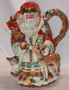 Christmas Fitz Floyd Enchanted Holiday Large Teapot New w Original Box | eBay