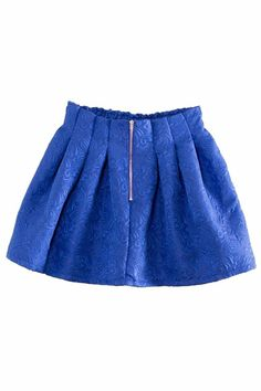 ROMWE | Zippered Floral Blue Puff Skirt, The Latest Street Fashion
