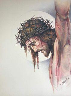 Thank you, Jesus! Jesus Tattoo, Jesus Christ Images, Jesus Art, Jesus Christ Drawing, Religious Pictures, Jesus Pictures, Catholic Art, Religious Art, Christus Tattoo