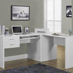 White Office Desk Monarch Specialties Desks Computer Desks Home Office Furniture White Corner Computer Desk, White Desk Office, Big Desk, White Desks, Desk Set, Home Office Desks, Home Office Furniture, Furniture Deals, Cool Furniture
