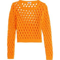 Moschino Cheap and Chic Cropped Knit Mesh Pullover ($97) ❤ liked on Polyvore featuring tops, sweaters, shirts, orange, long sleeve sweaters, orange sweater, cropped knit sweater, crop top and mesh long sleeve shirt