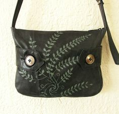 Little Leather Shoulder Bag in Waxy Black by bonspielcreation, $89.00