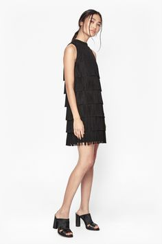 Hula Fringe Faux Suede Dress   Dresses   French Connection