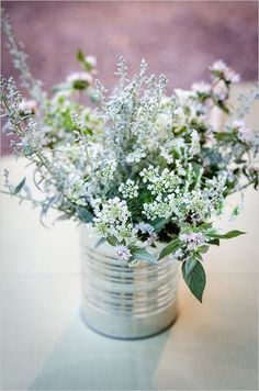 Tin can wedding decor inspiration 45  Charming Inexpensive Tin Can Wedding Ideas | http://www.deerpearlflowers.com/45-charming-inexpensive-tin-can-wedding-ideas/
