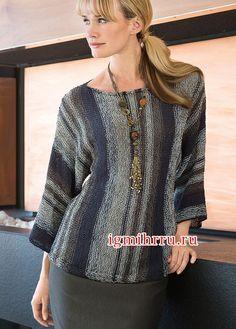 Трехцветный полосатый пуловер, связанный поперек единым полотном. Вязание спицами