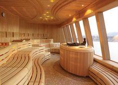 Nice looking sauna but again Wrong, wrong and wrong. You dont panel or build sauna like this! Modern Saunas, Contemporary Saunas, Building A Sauna, Indoor Sauna, Steam Sauna, Dry Sauna, Steam Bath, Spa Interior, Interior Garden