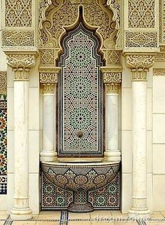 Stunning detailed mosaic Moroccan wall fountain. Get custom wall fountains like this at MIX!