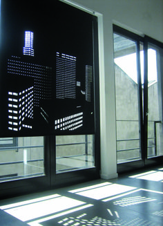 Elina Aalto: Better View Blinds. Roller blinds in city skylines photoed by Elina. As light flows in, the cut outs make an image of a city at night. Custom hand made of vinyl coated polyester.  http://media-cache-ec0.pinimg.com/originals/92/a6/a8/92a6a8172e0ec2a52045a05b57b50d6a.jpg  http://media-cache-ec0.pinimg.com/originals/d6/f2/af/d6f2af345a72bcc26503ffa2875f19d4.jpg  http://media-cache-ec0.pinimg.com/originals/04/3d/ce/043dce07d29c5e277e33873f74014beb.jpg