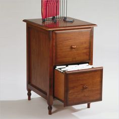 2 drawer wood file cabinet in cherry