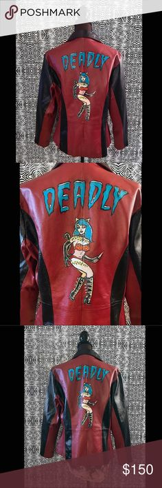 Deadly Girl Retro Leather Jacket Deadly girl REAL leather retro jacket! Hand painted by me and re-made to look kick ass. I love this jacket. It has a rockibilily/bowling alley vibe. Loose fitting and broken in. Size Large.   This piece is one of a kind and a blast from the past making it retro.   Hand wipe clean, never wash. Use a clean rag and water. If you want it to smell good during cleaning mix a few drops of scented essential oil in with your cleaning water. Keep the rag somewhat dry…
