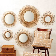 Two's Company 5 Piece Natural Rattan Wall Mirror Set