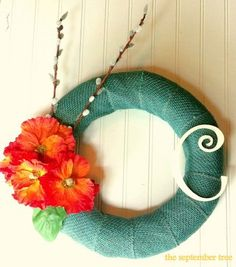 Burlap wreath with monogram tropical by TheSeptemberTree on Etsy, $38.00
