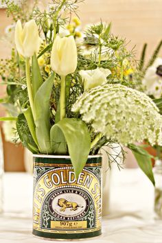 Lyles Golden syrup tin a classic design by Lindsey Kitchin of The White Horse… Horse Flowers, All Flowers, Beautiful Flowers, Wedding Flower Arrangements, Wedding Flowers, Golden Wedding Anniversary, Tin Art, Flower Company, Golden Syrup