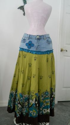 Geneviève teal peridot jean skirt bohemian Renaissance Denim Couture boho chic