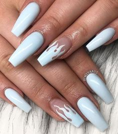 butterfly white short coffin nails nails acrylic cute
