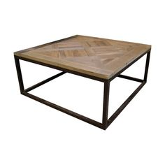 Gramercy Coffee Table with Reclaimed Parquet Wood. #reclaimedwood #coffeetable #squaretable