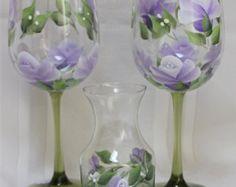 Conjunto de 2 copas de vino pintadas de por SilkEleganceFlorals