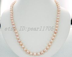 17inch 7-7.5mm aaa grade pink akoya cultured pearls necklace 14k GF--pearl jewelry--fine gift on Etsy, $44.35 CAD