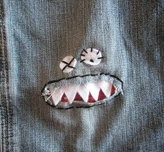 Have a hole in your clothes? Go with it. Turn it into a fun monster face, a cute little bug, or some other design. Same goes for stains that won't wash out. You can sew on little pieces of felt or fabric, add sequins for details like eyes, or for a quick-fix simply draw around the hole or stain with some fabric markers. And don't worry about placement - so what if your little monster is on some random part of your shirt? It makes it that much more special. :) (photo from Pinterest)