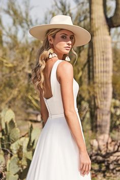 Style 66152: A-Line Gown with Notched Square Neckline and Square Back | Lillian West Lillian West, Stevie Nicks, Anne Barge Wedding Dresses, Chiffon Rock, A Line Gown, Square Necklines, Boho, Panama Hat, Gowns