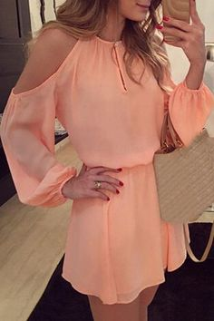 Stylish Round Collar Long Sleeve Pure Color Cut Out Chiffon Women's Dress