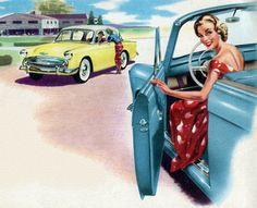 1950s Car ad illustration