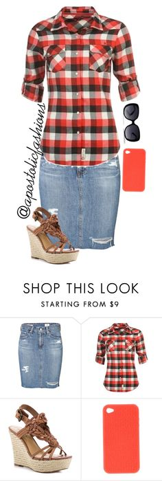 """Apostolic Fashions #282"" by apostolicfashions ❤ liked on Polyvore featuring AG Adriano Goldschmied, Lee Cooper, GUESS and Fendi"