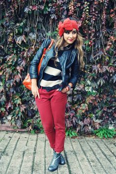 everything she wears is perfect Hello It's Valentine, Glitter Boots, Red Jeans, Orange, Red Stripes, Fashion Boots, Urban Outfitters, Style Me, Style Inspiration