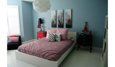 Girls teen room with red, turquoise and black color palette