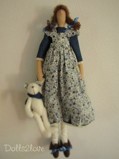 Tilda doll Blossom wearing a blue jeans dress and a by Dolls2love