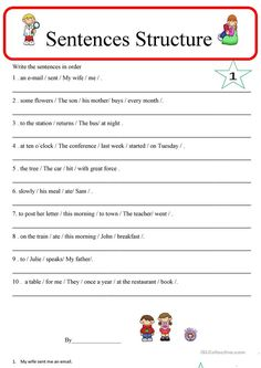 Sentence Structure 1 - English ESL Worksheets for distance learning and physical classrooms