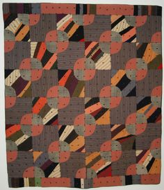 Wool Bowties Variation quilt, New Mexico c 1900